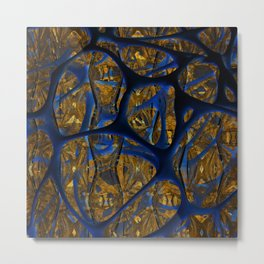 Blue And Gold Thoughts Metal Print