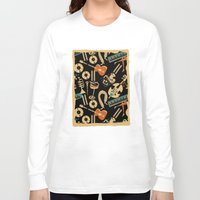 blankets Long Sleeve T-shirts featuring Jazz Rhythm (negative) by Chicca Besso