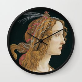 Idealized Portrait of a Lady (Portrait of Simonetta Vespucci as Nymph) Wall Clock