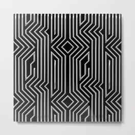 3-D Art Deco Silver Architectural Design Metal Print