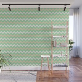 Pastel Green, Beige & Linen White Chevron Line Pattern Pairs to Noe Mint 2020 Color of the Year Wall Mural