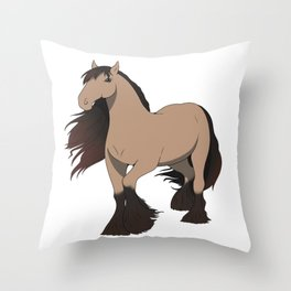 Buckskin Gypsy Horse Throw Pillow