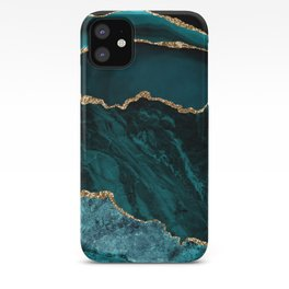 Teal Blue Emerald Marble Landscapes iPhone Case