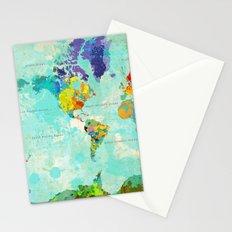 World Map - 6 Stationery Cards
