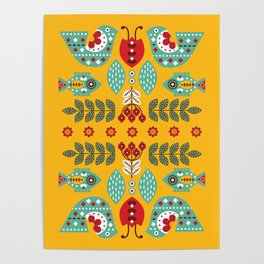 Scandinavian Folk card Poster