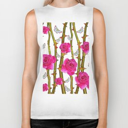 WHITE BUTTERFLIES & PINK ROSE THORN CANES WHITE ART Biker Tank