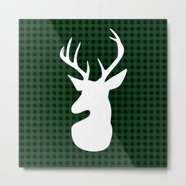 Elegant Green Plaid Deer Design Metal Print