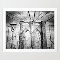 brooklyn bridge Art Prints featuring Brooklyn Bridge by Vivienne Gucwa
