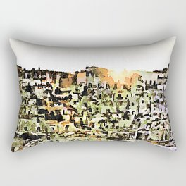 Sassi di Matera: view with sun Rectangular Pillow