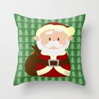 santa Throw Pillows featuring Santa by Alapapaju
