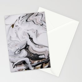 Elegant dark swirls of marble Stationery Cards