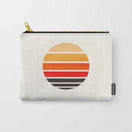 Orange Mid Century Modern Minimalist Circle Round Photo Staggered Sunset Geometric Stripe Design Carry-All Pouch