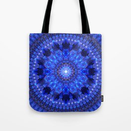 Azure Shield Mandala Tote Bag
