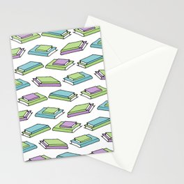 Doodle Books - Pattern in Green, Purple and Blue on White Background Stationery Cards