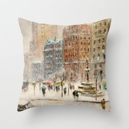 Winter at the Plaza, New York City landscape by Guy Carleton Wiggins Throw Pillow