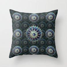 Mosaic flower, blue turquoise Throw Pillow
