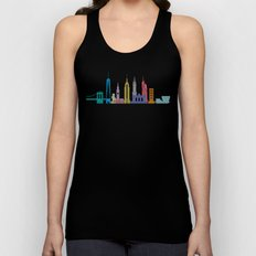 New York Skyline White Unisex Tank Top
