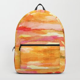 Digital Watercolor Abstract // Sunrise Pink, Saffron, Orange Backpack