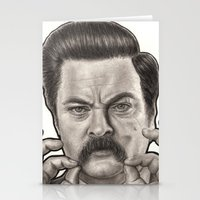 ron swanson Stationery Cards featuring Ron Swanson by Leslie @ PoeDesigns.com