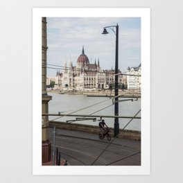 Bicycle in front of the Hungarian Parliament Art Print