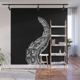 One Woodcut Style Cthulhu Octopus Tentacles on Black Background Wall Mural