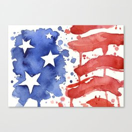 American Flag Watercolor Abstract Stars and Stripes Canvas Print