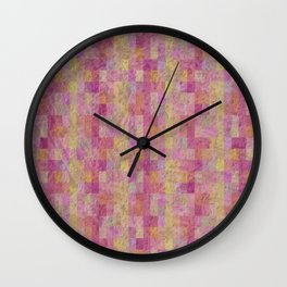 Soft Textured Muted Checkerboard Pattern Wall Clock