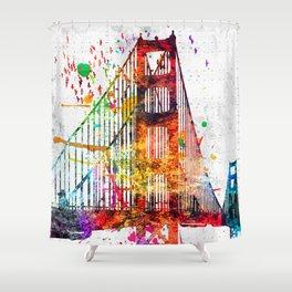 Golden Gate Bridge Grunge Shower Curtain
