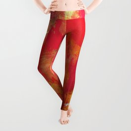 Fight Fire With Fire - Textured Metallic Abstract in red, white, black, orange and yellow Leggings