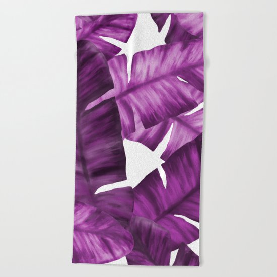 Pink Tropical Banana Leaves Pattern Beach Towel
