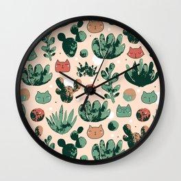 Cats and cacti Wall Clock