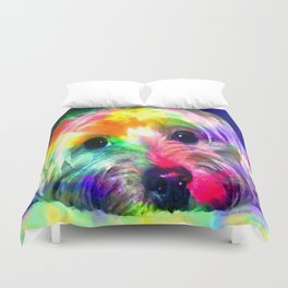 Colorful Yorkie By Annie Zeno  Duvet Cover