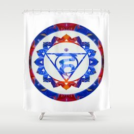 16 Lotus Petals Vishuddha Abstract Chakra Art Shower Curtain