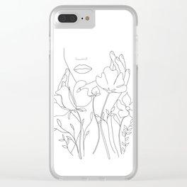 Minimal Line Art Summer Bouquet Clear iPhone Case