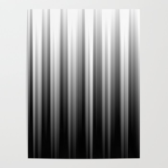 Black And White Soft Blurred Vertical Lines - Ombre Abstract Blurred Design Poster
