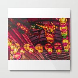 Dragon lanterns at Nagasaki Lantern Festival | Neon Japan Metal Print