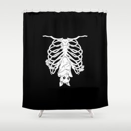 Cute Bat in Ribcage Shower Curtain
