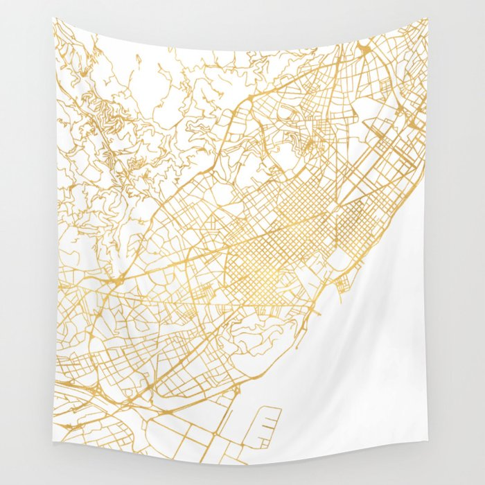 Barcelona In Spain Map.Barcelona Spain City Street Map Art Wall Tapestry By Deificusart