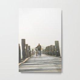 Walking on the bridge |Sunrise U-Bein Bridge Mandalay | Myanmar Travel Photography Metal Print
