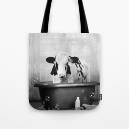 Cow with Rubber Ducky in Vintage Bathtub Tote Bag