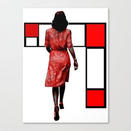 Red Dress In The City Canvas Print