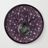 dark side of the moon Wall Clocks featuring Dark Side of the Moon by Helle Gade