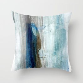 Blue and Brown Abstract Watercolor Throw Pillow