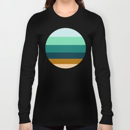 Teal Turquoise and Suede Geometric Pattern Long Sleeve T-shirt
