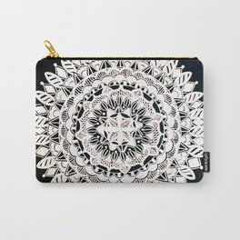 Metallic White Floral Mandala on Black Background Carry-All Pouch