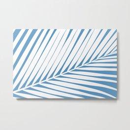Palm Tree Silhouettes Blue and White Print Metal Print