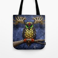 pinapple Tote Bags featuring Pinapple Breasted MooseOwl by Joby Cummings
