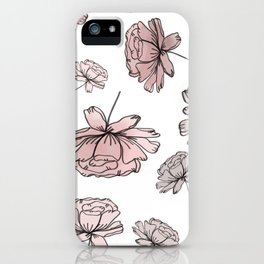 Hand Drawn Peonies Dusty Rose iPhone Case