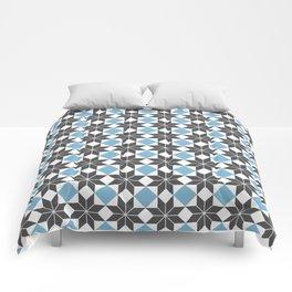 8 Point Star Pattern, Dusk Blue, Charcoal Black Comforters