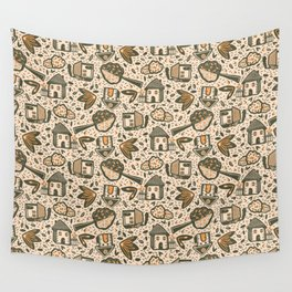 Little Cottages by the Tree in the Garden - Cute Retro Pattern -1 Wall Tapestry